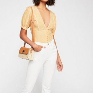 NWOT FREE PEOPLE Ivy Gingham Scalloped Trim Top